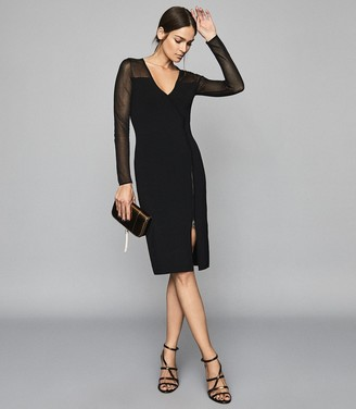 Reiss Valencia - Zip Detailed Bodycon Dress in Black