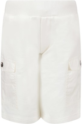 Moncler White Short For Boy With Iconic Patch