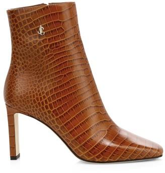 Jimmy Choo Minori Croc-Embossed Leather Ankle Boots