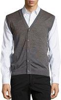 Neiman Marcus Button-Front V-Neck Sweater Vest, Flint