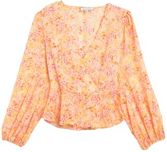 Emory Park Floral Long Sleeve Peplum Top