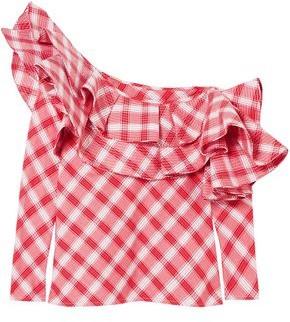 Johanna Ortiz Mangas Coloradas One-shoulder Ruffled Checked Cotton Blouse