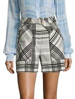 Diane von Furstenberg Plaid High-Waist Shorts