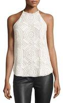 Diane von Furstenberg Laygin Laser-Cut Leather Sleeveless Top, Ivory