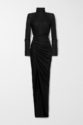 Alexandre Vauthier Ruched Stretch-lame Gown - Black