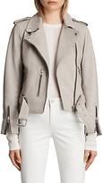 AllSaints Leather Balfern Biker Jacket, Light Grey