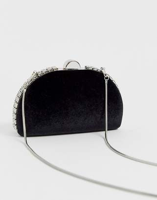 True Decadence black embellished half moon clutch