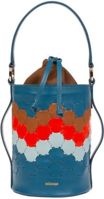 Mianqa Feride Cylinder Woven Bag Blue