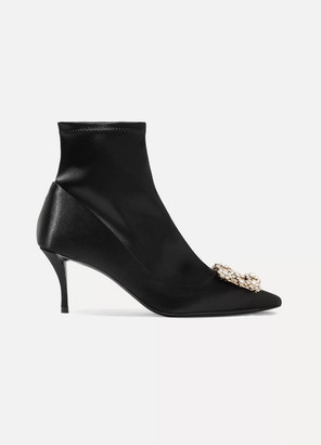 Roger Vivier Flower Crystal-embellished Silk-satin Sock Boots - Black