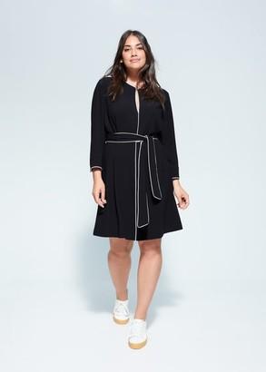 MANGO Violeta BY Contrast trim dress black - 12 - Plus sizes