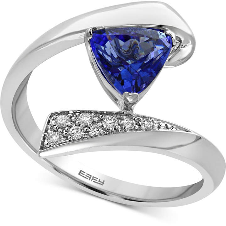 Effy Tanzanite Royale Tanzanite (1 ct. t.w.) and Diamond Accent Bypass Ring in 14k White Gold, Created for Macy's