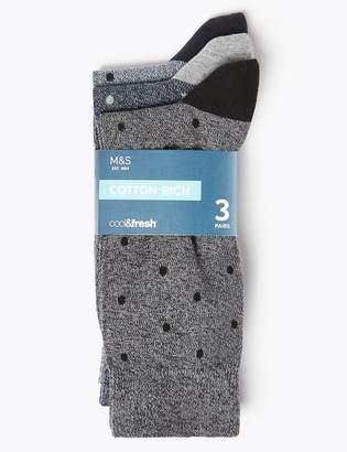 Marks and Spencer 3 Pack Cotton Cool & Fresh Polka Dot Socks