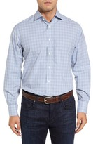 Thomas Dean Men's Regular Fit Dobby Check Sport Shirt