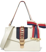 Gucci Sylvie Small Chain-embellished Leather Shoulder Bag - White