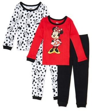 Minnie Mouse Toddler Girl Long Sleeve Snug Fit Cotton Pajamas, 4pc Set