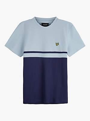 Lyle & Scott Colour Block Crew Neck T-Shirt, Blue Dust/Navy