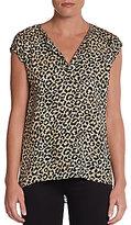 Rebecca Taylor Leopard-Print Cap-Sleeve Top