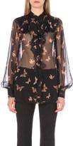 Alexander McQueen Butterfly-print silk-chiffon shirt