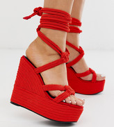 Asos Design DESIGN Wide Fit Will Power tie leg rope wedges in red