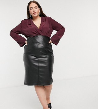 ASOS DESIGN Curve long sleeve wrap blouse with shoulder pad in wine