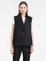 Calvin Klein Platinum Dark Denim Sleeveless Coat