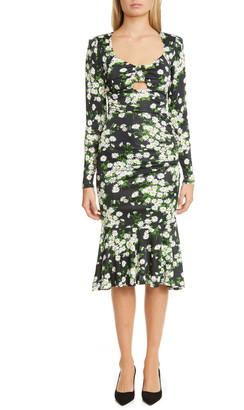 Michael Kors Daisy Print Ruched Long Sleeve Midi Dress