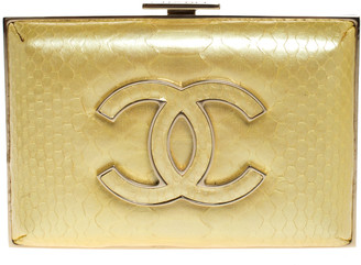 Chanel Yellow Python Small CC Box Clutch