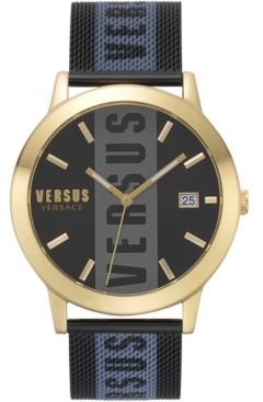 Versus By Versace Men's Barbes Black Stainless Steel Mesh Bracelet Watch 44mm