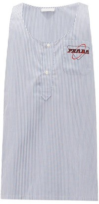 Prada Striped Logo-print Cotton Shirt - Blue
