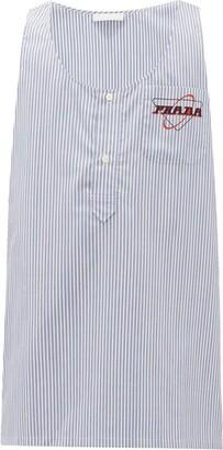 Prada Striped Logo-print Cotton Shirt - Mens - Blue