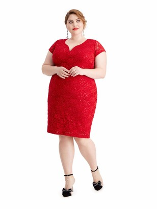 Connected Apparel Womens Red Sequined Cap Sleeve V Neck Shift Evening Dress US Size: 16W