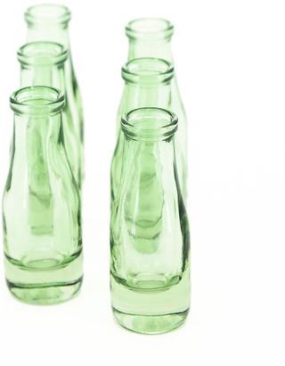 Serene Spaces Living Bottle Green Glass Bud Vase, Set of 6