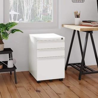 Symple Stuff Tassone Steel 3-Drawer Mobile Vertical Filing Cabinet Color: White