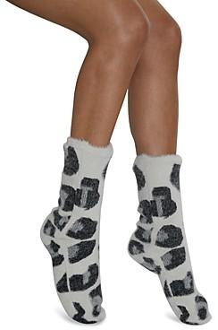 Cejoli Snow Leopard Faux Fur Slipper Socks