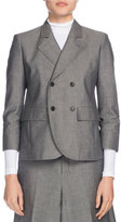 Balenciaga Shrunken Chambray Blazer, Gray
