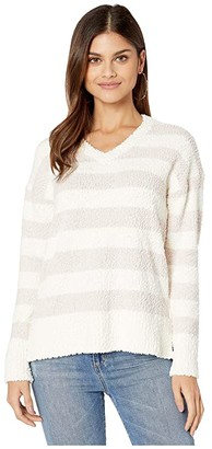 Sanctuary V-Neck Teddy Sweater (Cloud/Light Peral Stripe) Women's Sweater