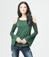 Long Bell Sleeve Solid Cold-Shoulder Top
