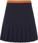 Miu Miu Pleated Wool-blend Mini Skirt - Navy