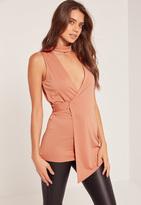 Missguided Choker Neck Sleeveless Wrap Tunic Pink
