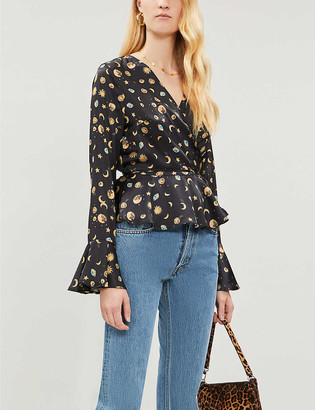 NEVER FULLY DRESSED Matilda stars and moon-print satin blouse