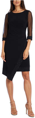 R & M Richards Petite Illusion-Sleeve Asymmetrical Dress