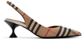 Burberry Beige Vintage Check Slingback Heels