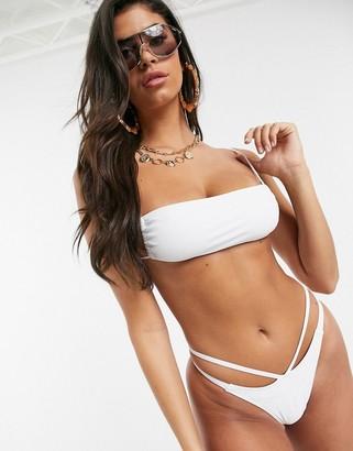 Motel high leg bikini bottom in white