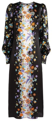 Andrew Gn Floral Silk Midi Dress