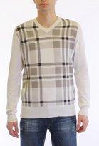 Dinamit Jeans Dinamit Men's Cotton Windowpane Plaid Crew Neck,White - Grey - Melange