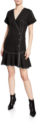 Derek Lam 10 Crosby Surplice-Neck Short-Sleeve Faux-Wrap Dress w/ Topstitch Details
