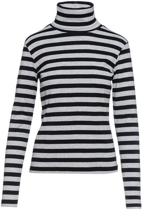 Conquista Striped Black & Grey Polo Neck Jumper