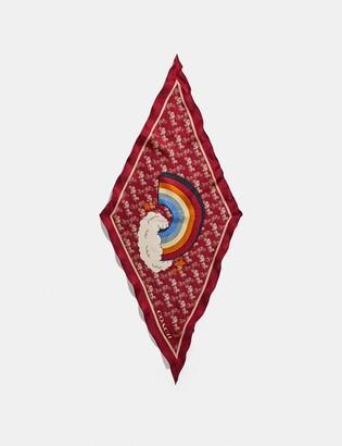 Coach Horse And Carriage Rainbow Print Silk Diamond Scarf