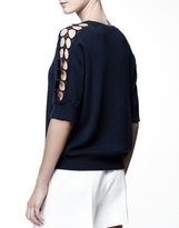 Chloé Elbow Sleeve Lace Trim Sweater, Blue