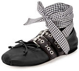 Miu Miu Belted Leather Ankle-Wrap Ballerina Flat